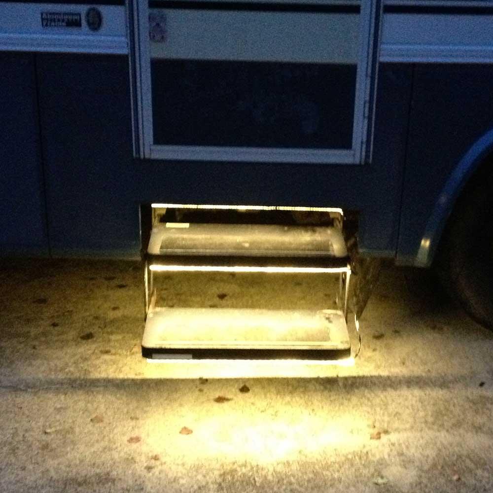 Black 12v Led Awning Strip Light Exterior Camping Rv: Warm White LED Strip Light Kit For RV Steps