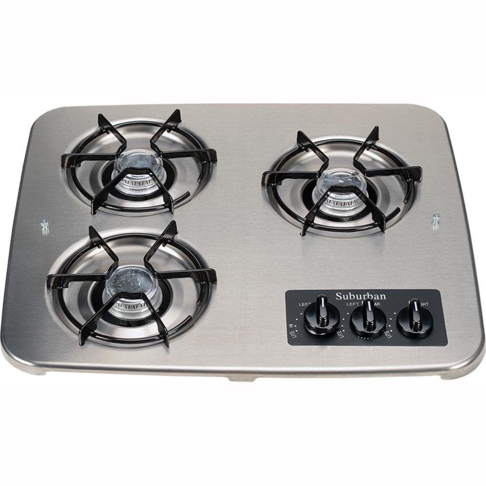 ... 3 Burner Drop In Cooktop, Stainless Top