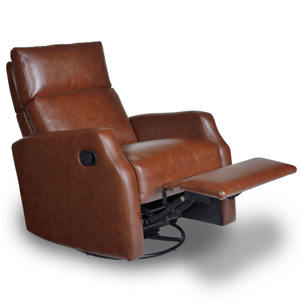 Sidney Swivel Rocker/Recliner, Brown - Opulence Home 1290 ...