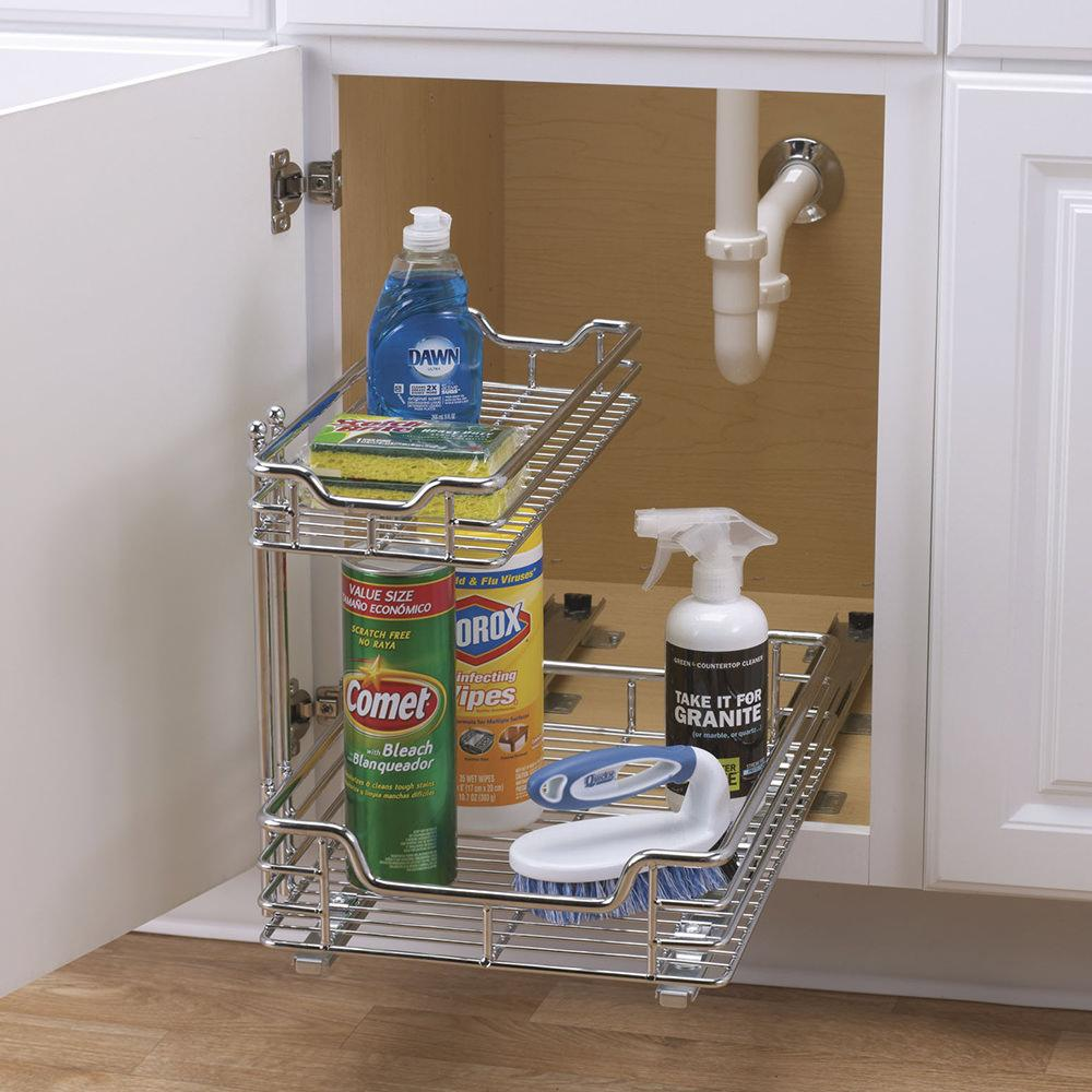 Bathroom organizers under sink -  Two Tier Under Sink Sliding Organizer 12