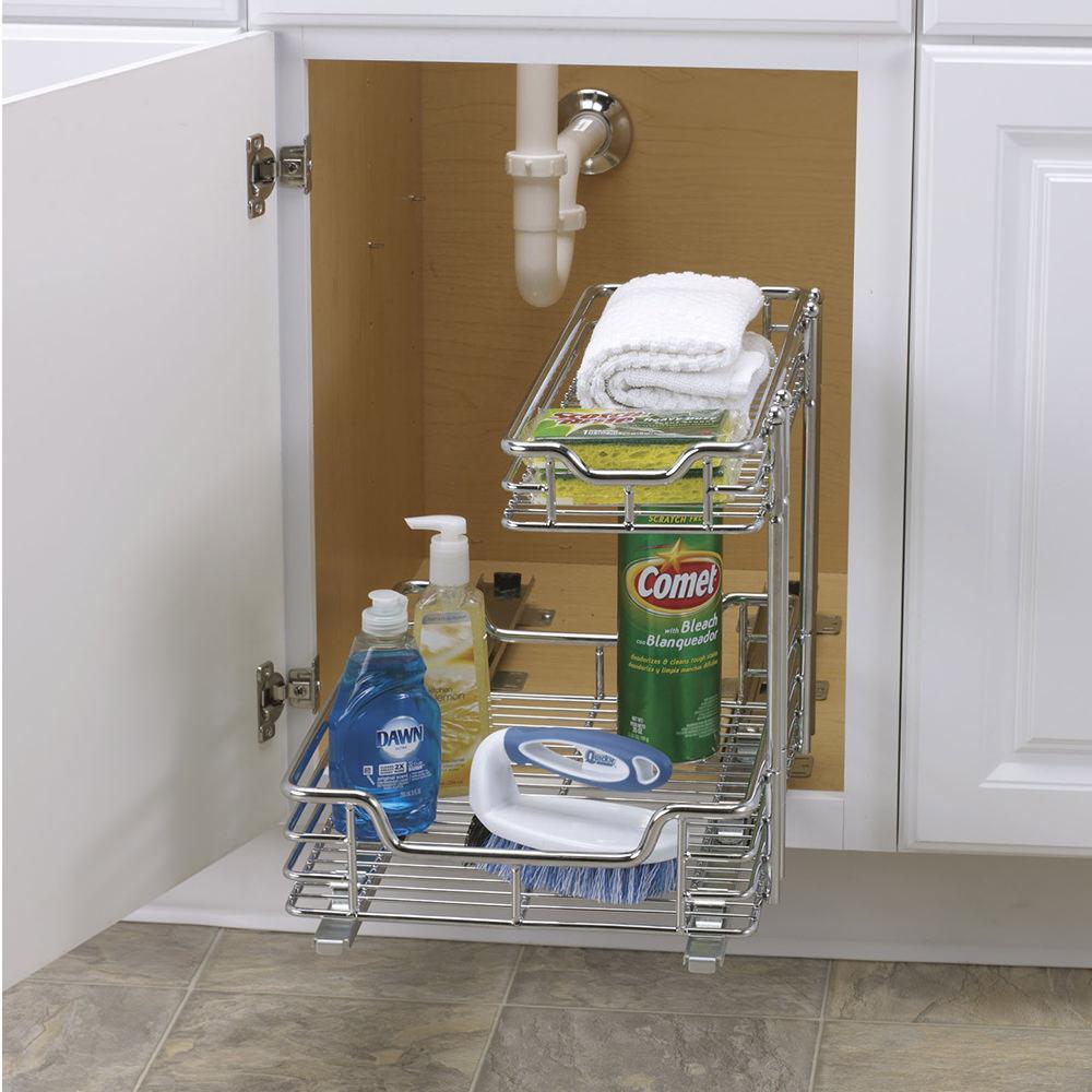 """Sink Organizer Shelf Under Kitchen Cabinet Storage Sliding: Two Tier Under-Sink Sliding Organizer, 12"""""""
