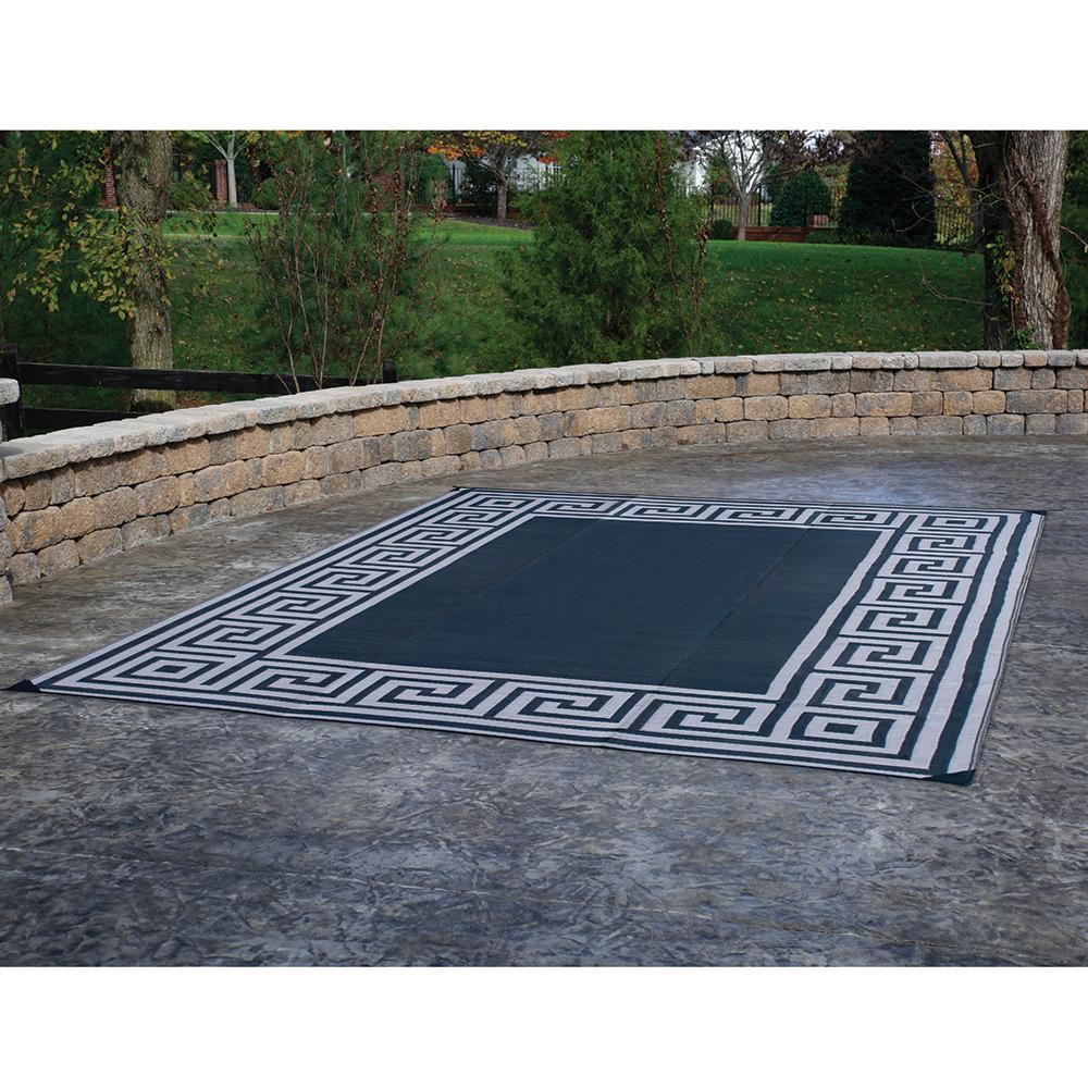 ... Patio Mat, Polypropylene, Greek Motif Design, 9u0027x12u0027, Black ...
