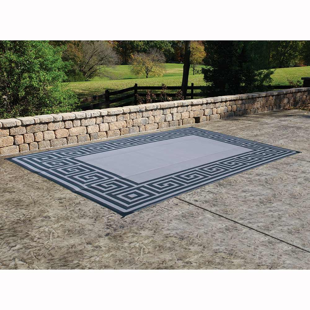 Nice ... Patio Mat, Polypropylene, Greek Motif Design, 6u0027x9u0027, Black ...