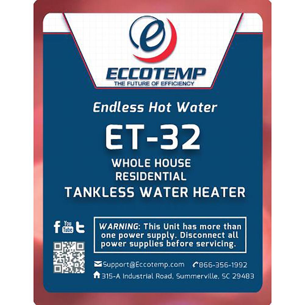 Et 32 Electric Tankless Water Heater Eccotemp Et 32