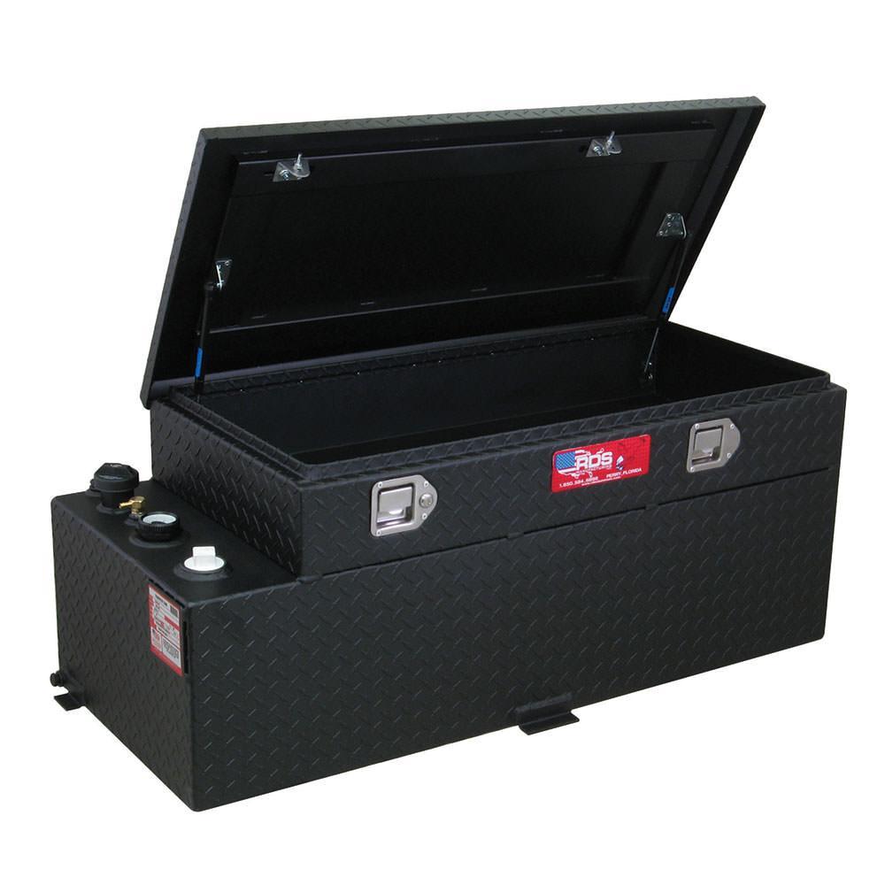 Fuel Tank Tool Box : Black powder coat transfer fuel tank toolbox combo