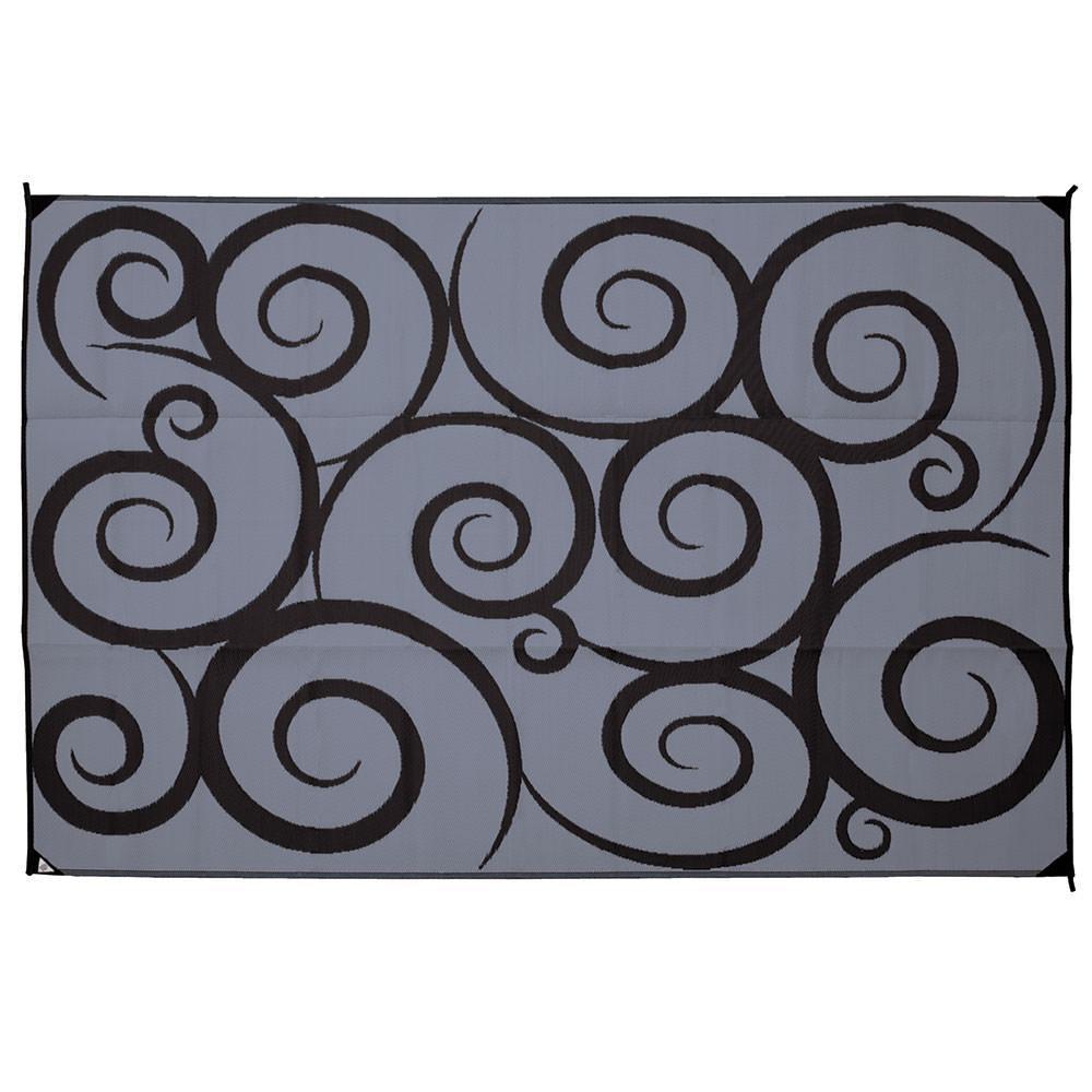 ... Direcsource Ltd Reversible Patio Mat, 9 X 12, Black/Gray Swirl Design