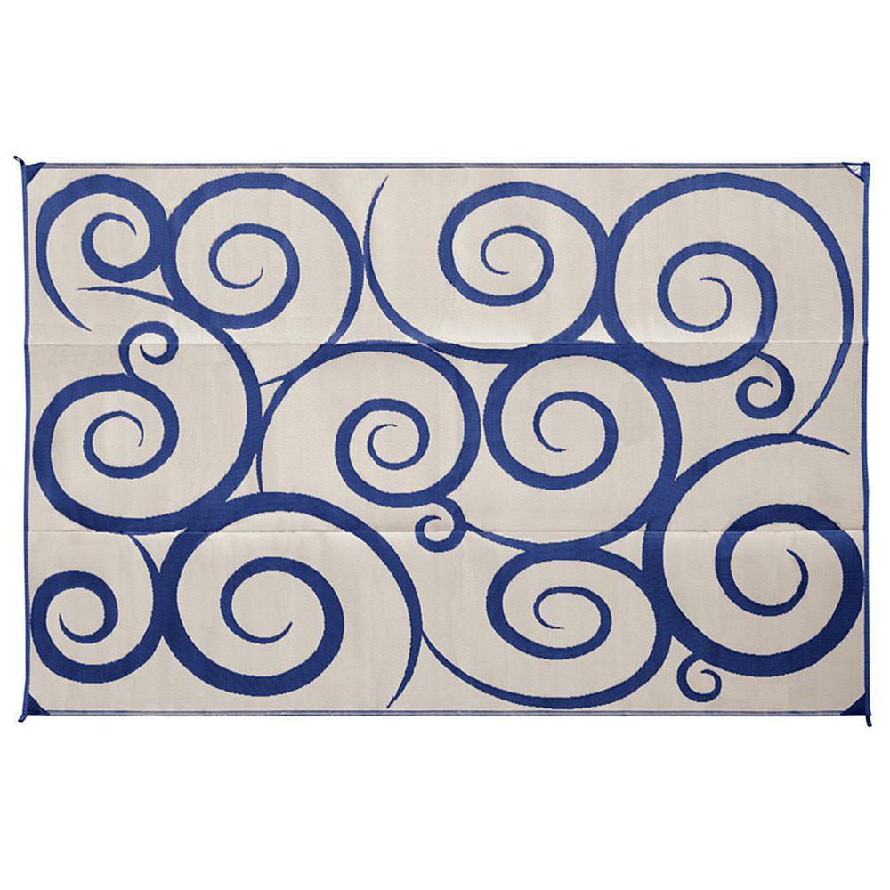 ... Direcsource Ltd Reversible Patio Mat, 9 X 12, Navy/Cream Swirl ...