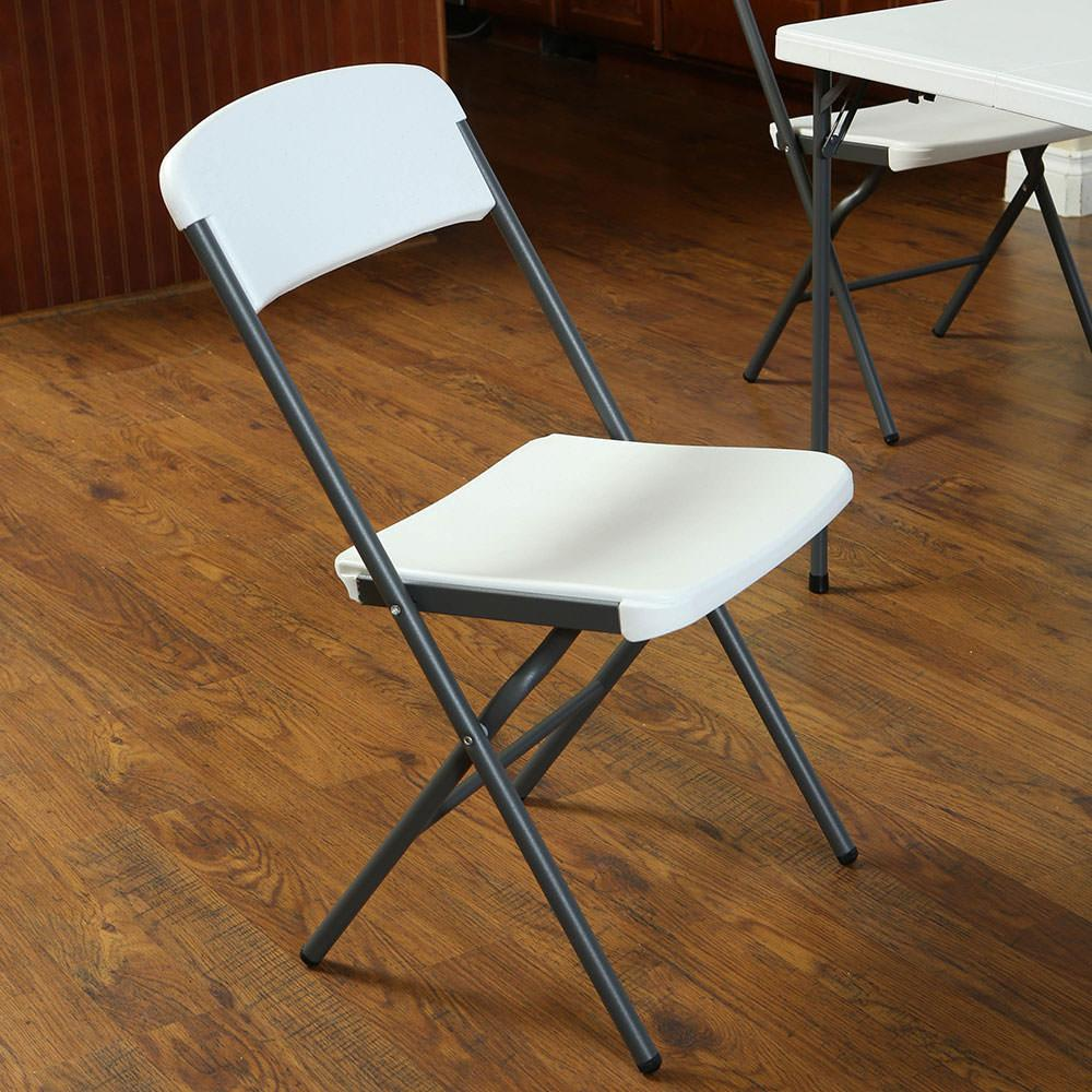 White Granite Contemporary Essential Folding Chair 4 Pack Lifetime