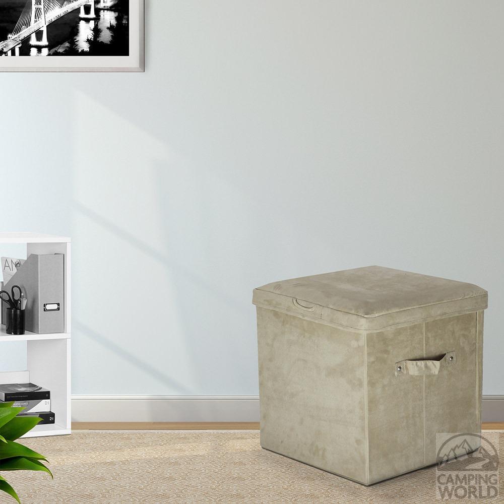 folding storage ottoman microsuede beige yu shan co