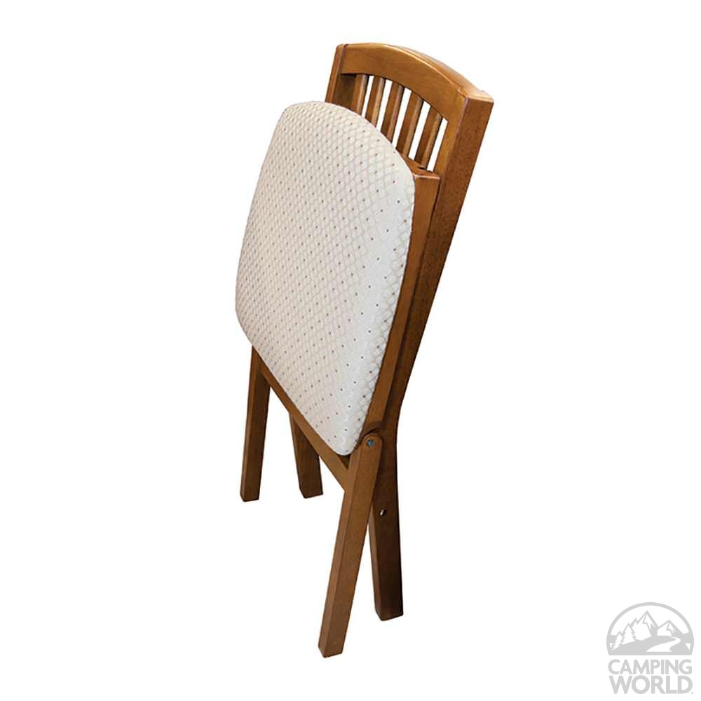 ... Upholstered Folding Wood Chair, Contemporary Fruitwood With Blush  Fabric Seat ...