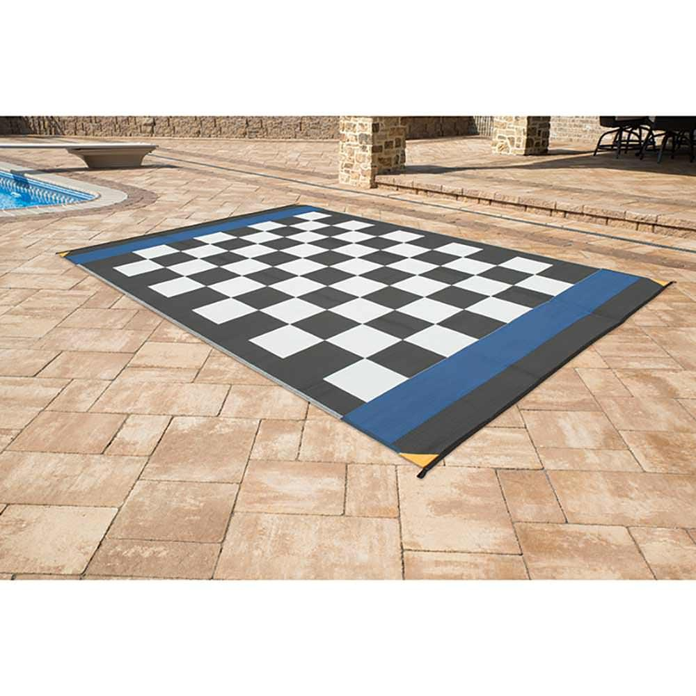 Patio Mat Polypropylene Checkered Flag Design 9 X12