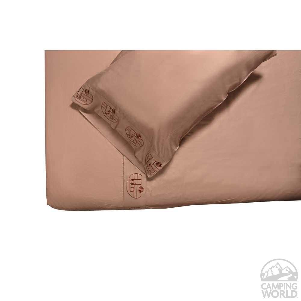 ... Microfiber Embroidered Sheet Set, Taupe, Vintage RV Design, Short Queen  ...