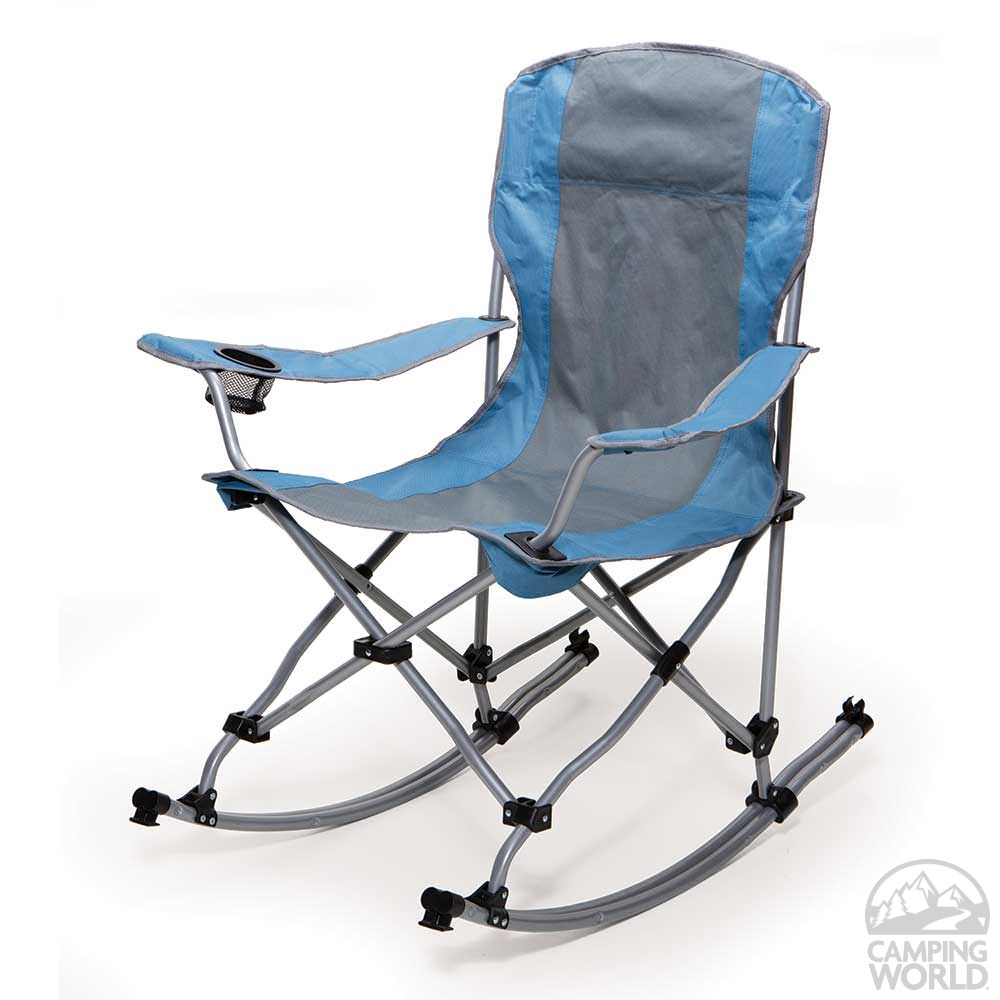 rocking bag chair blue and gray