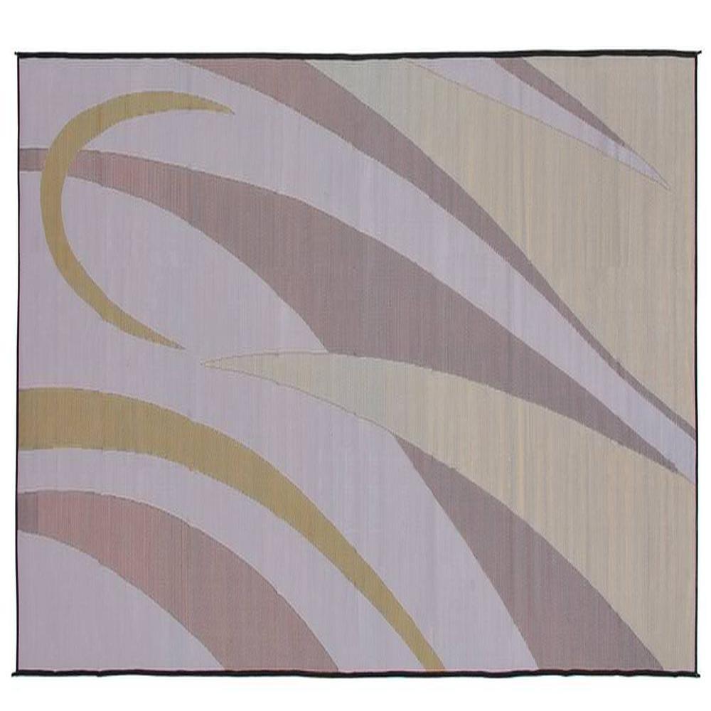 ... Mings Mark Reversible RV Patio Mat, 8 X 20, Brown/Gold Art Graphic ...