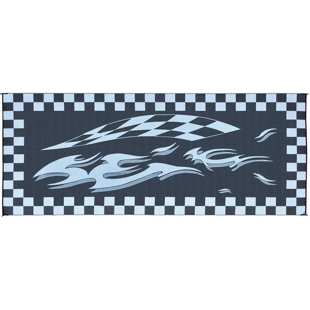 Reversible Checkered Flag Design Patio Mat, 8 X 20, Black .