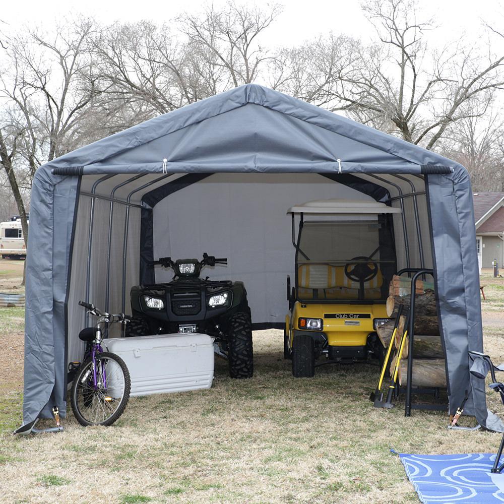 Wood Atv Shelter : Peak style shelter green cover shelterlogic