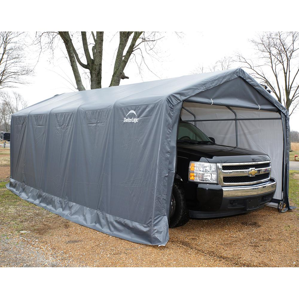 Peak Style Storage Shed 10 × 10 × 8 Gray Cover ...