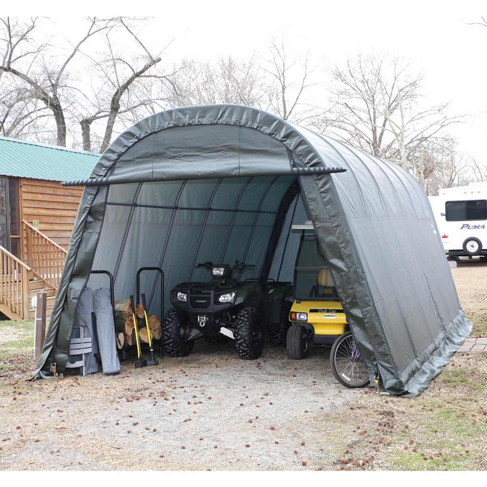 Auto Shelter 10 x 15 x 8 ft. Round Style, Sandstone Cover ...