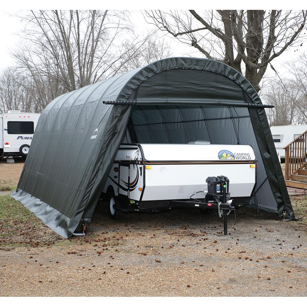 Auto Shelter 10 X 15 X 8 Ft Round Style Sandstone Cover