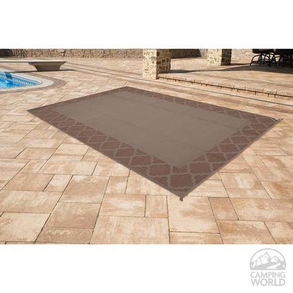 Patio Mat, Polypropylene, Trellis Design, 6'x9', Dark Brown