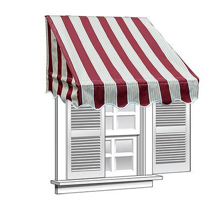 Aleko 4x2 Multistripe Red Window Awning Door Canopy 4 Foot Decorator