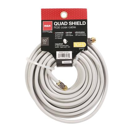 RG6 Digital Quadshield Coax Cable - 50'