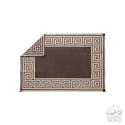 Patio Mat Polypropylene Greek Design 9 X12 Coffee Brown
