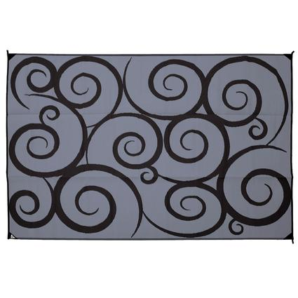 Reversible Swirl Design Patio Mat, 6'x9', Black/Gray