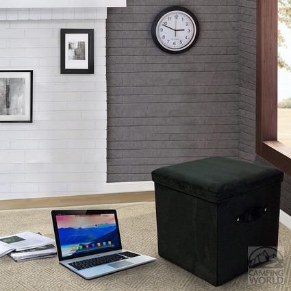 folding storage ottoman microsuede black yu shan co