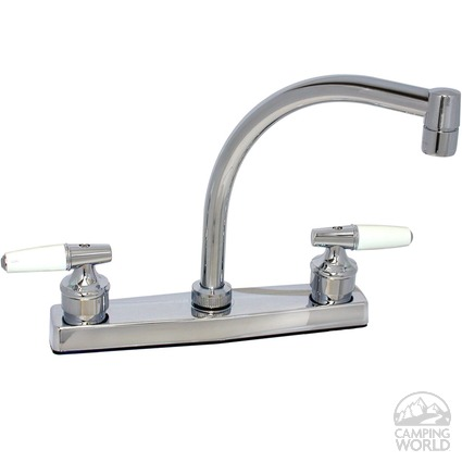 Chrome Finish Hi Arc Kitchen Faucet with White Handles
