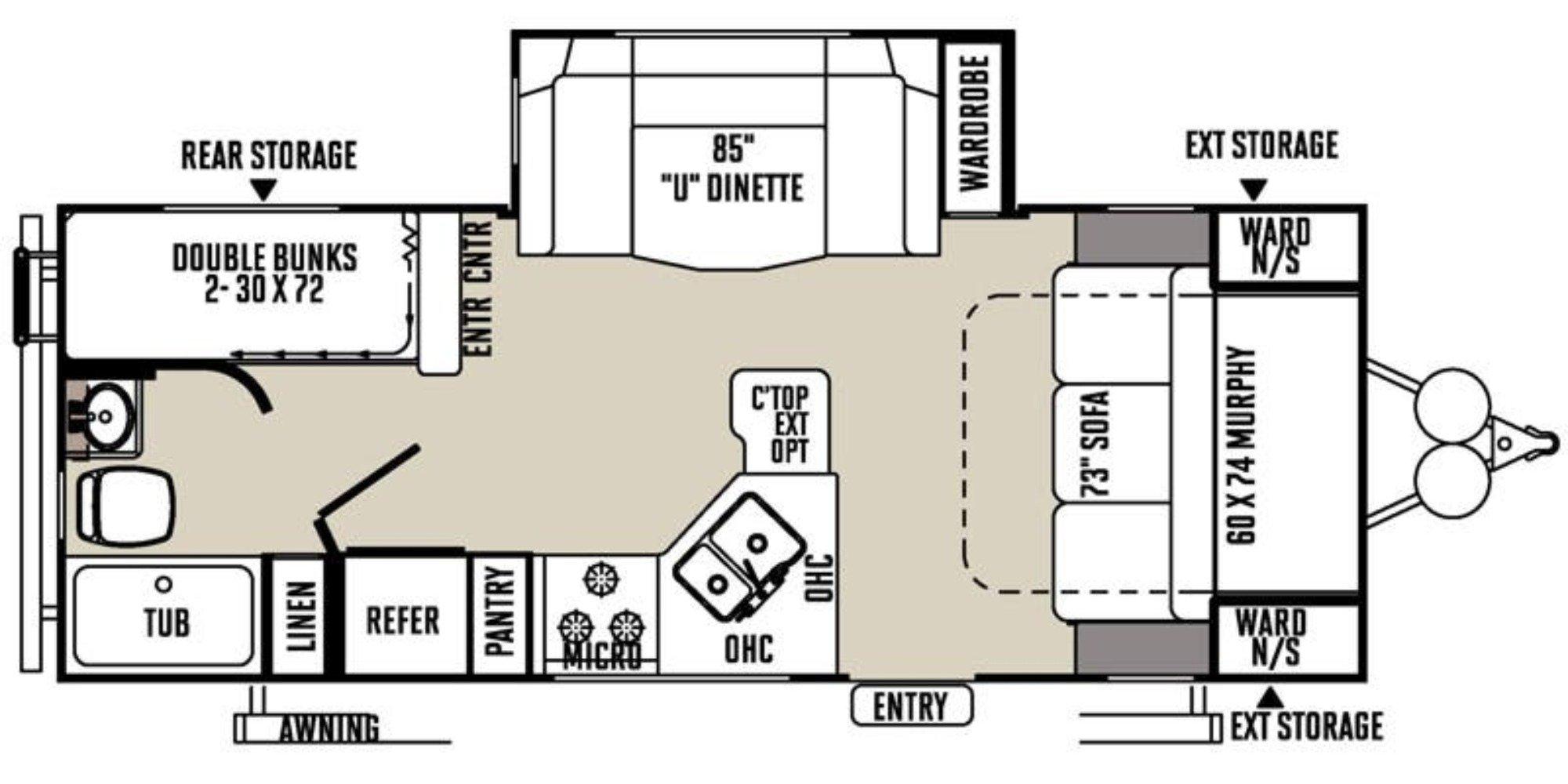 View Floor Plan for 2016 FOREST RIVER ROCKWOOD MINI LITE 2504S