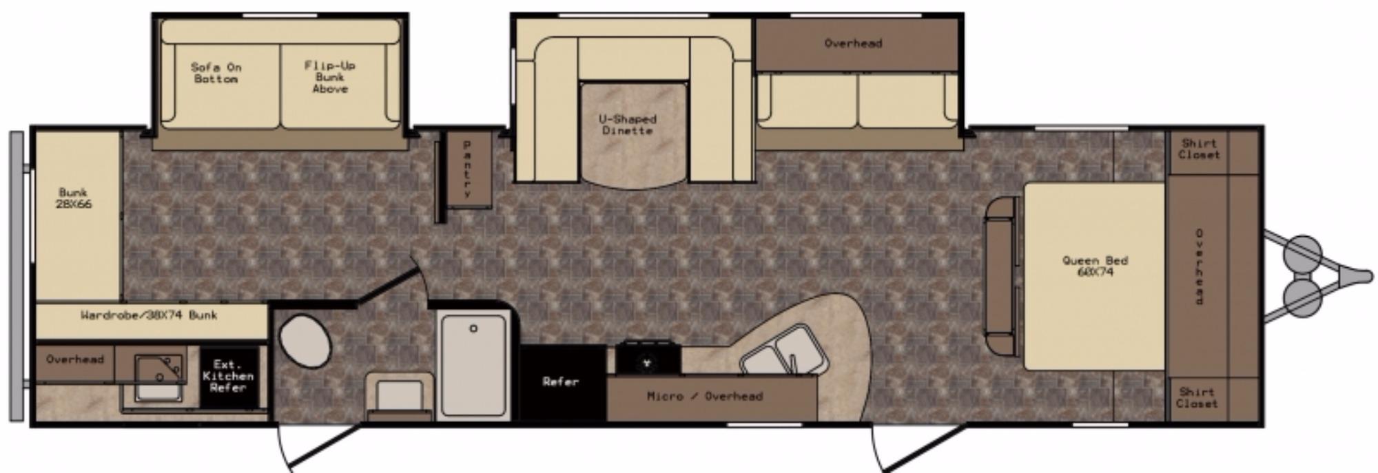 View Floor Plan for 2017 CROSSROADS Z-1 328SB