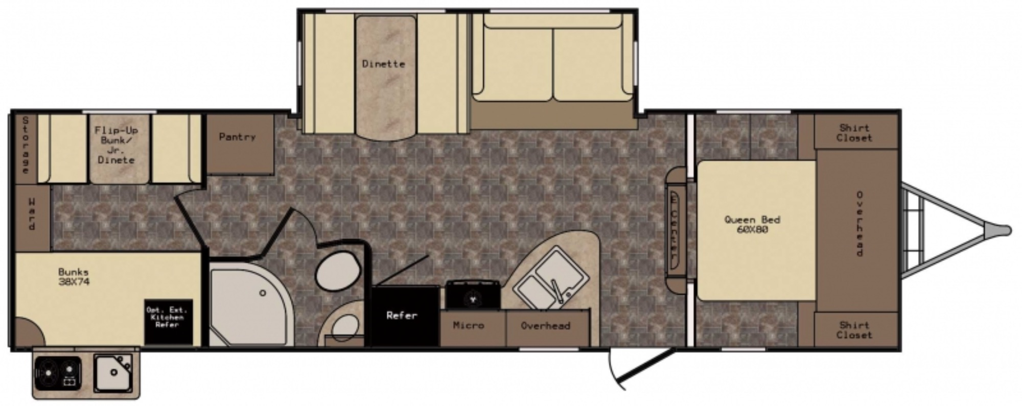 View Floor Plan for 2017 CROSSROADS SUNSET TRAIL 290QB