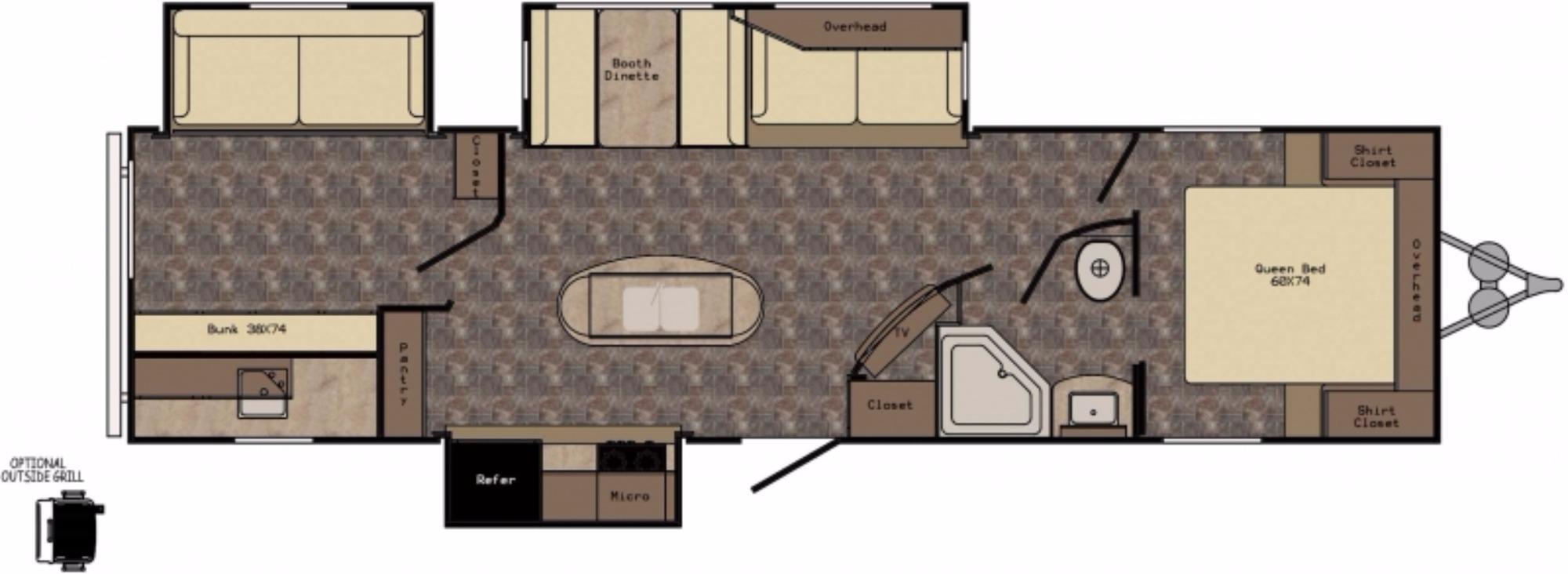 View Floor Plan for 2017 CROSSROADS ZINGER 33BH