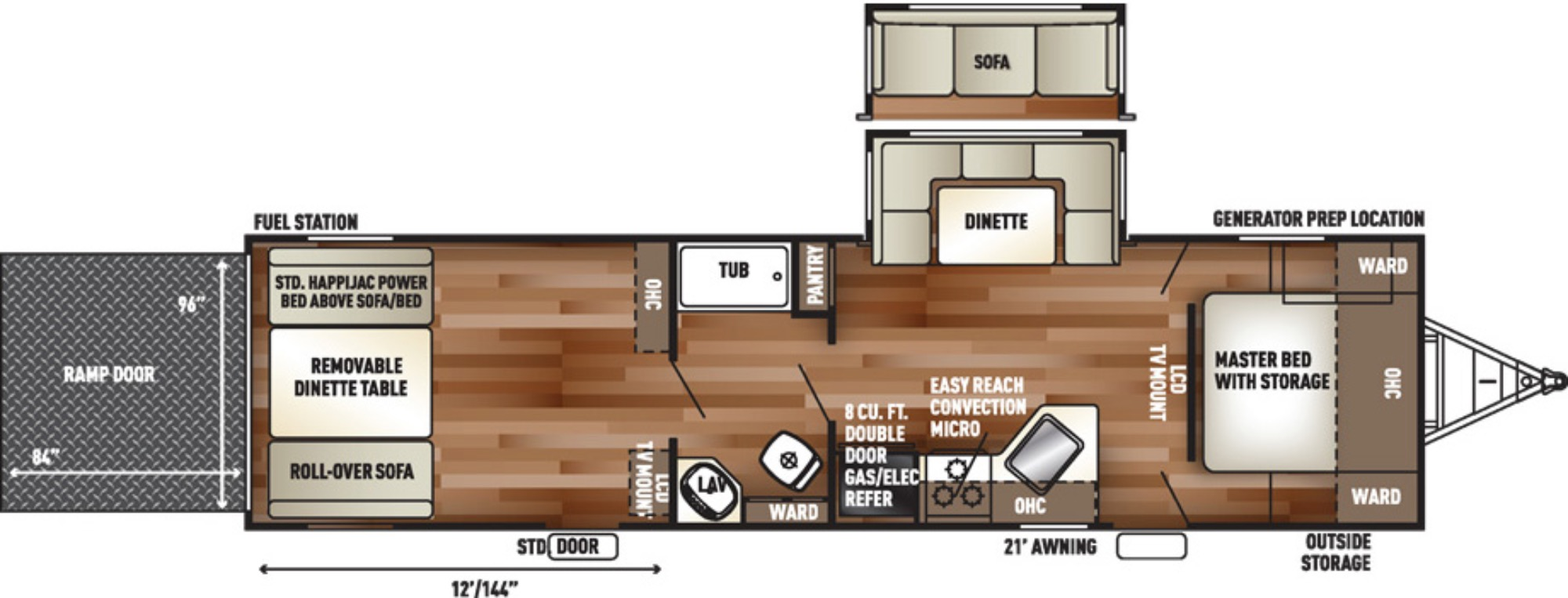 View Floor Plan for 2017 FOREST RIVER WOLF PACK 25PACK12