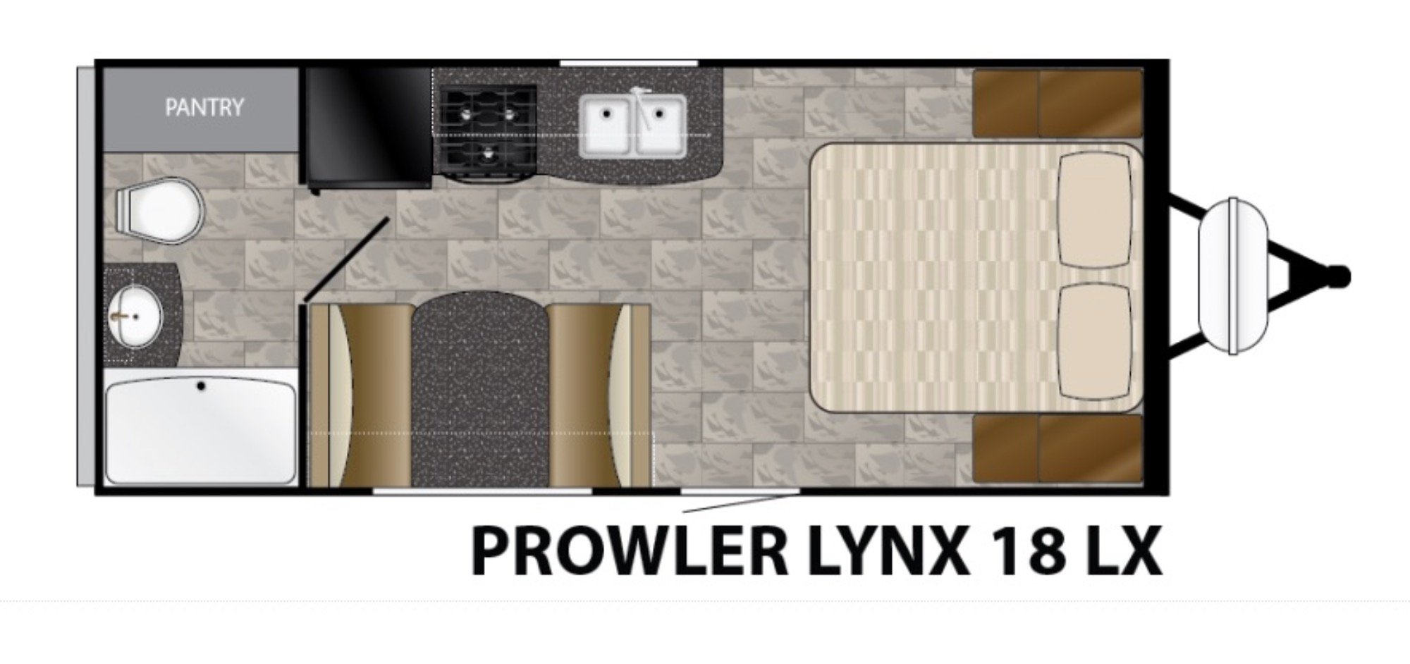 View Floor Plan for 2017 HEARTLAND PROWLER 18LX