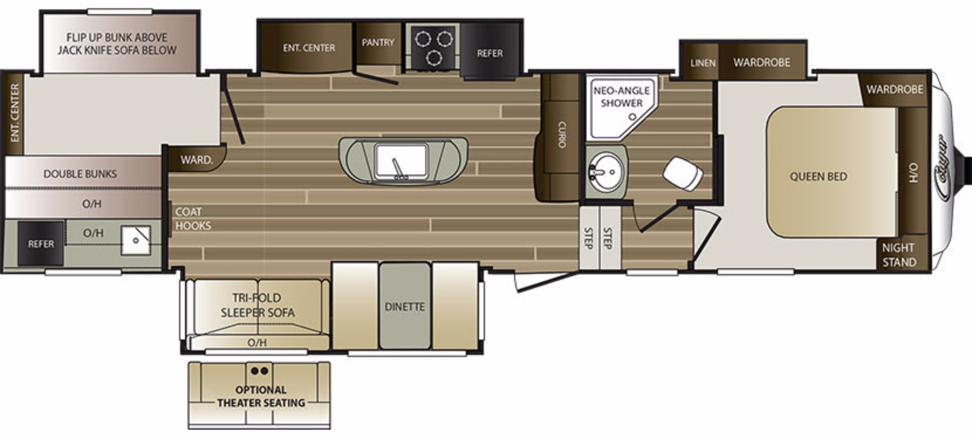 View Floor Plan for 2017 KEYSTONE COUGAR 336BHS
