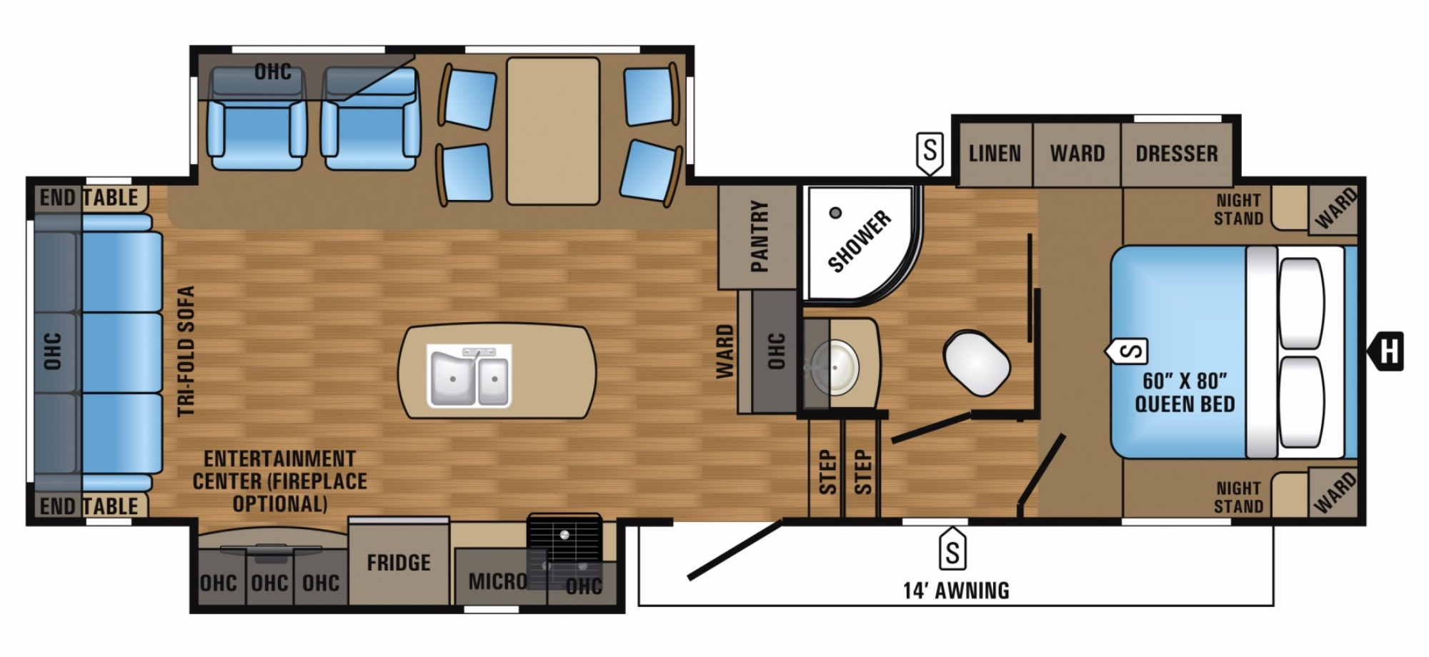 Floor Plan image for '2018 JAYCO EAGLE HT 28.5RSTS'