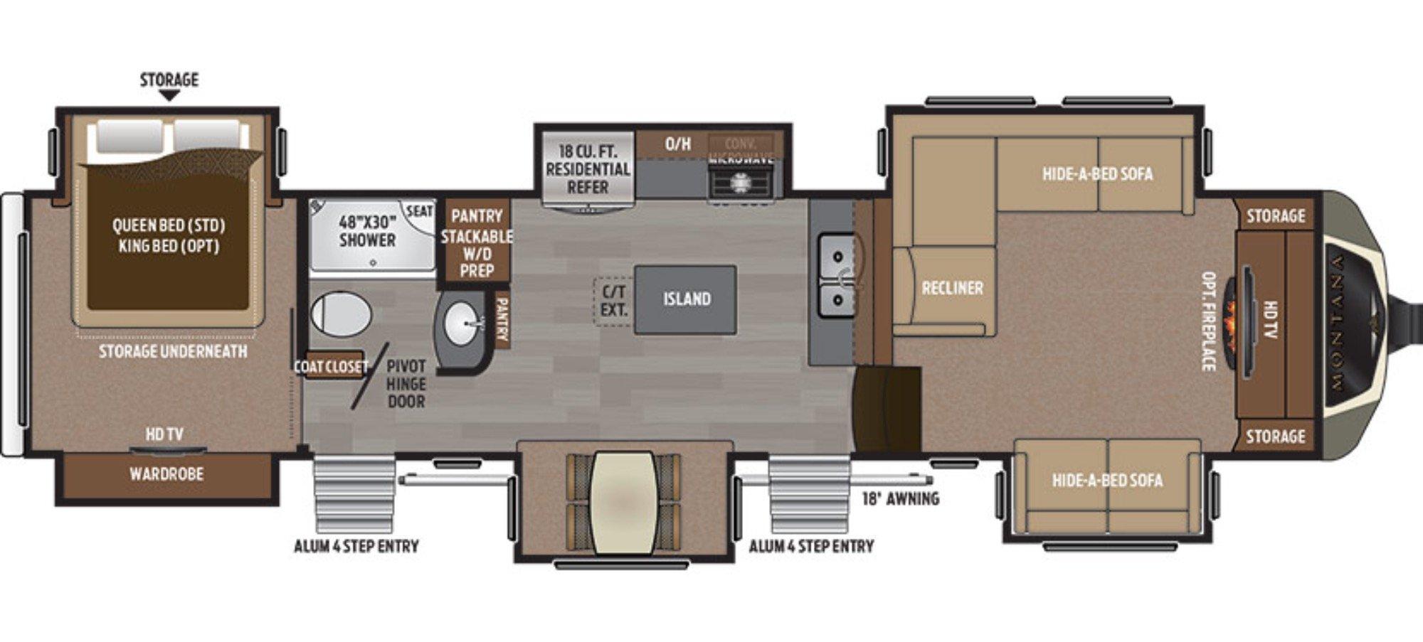 View Floor Plan for 2017 KEYSTONE MONTANA 3711FL