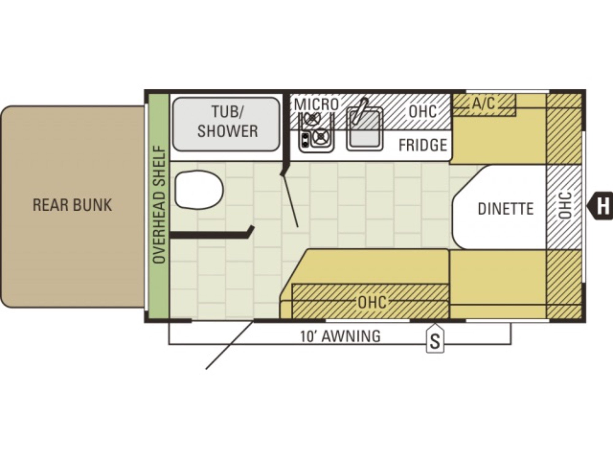 View Floor Plan for 2017 STARCRAFT AR-ONE 15RB