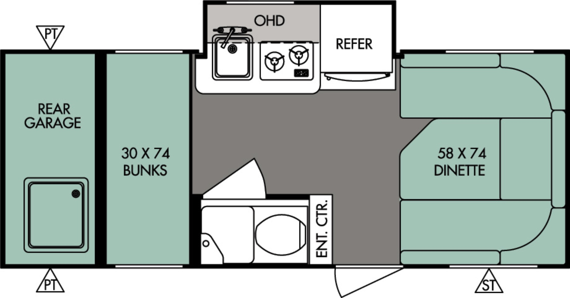 View Floor Plan for 2017 FOREST RIVER R-POD 182G