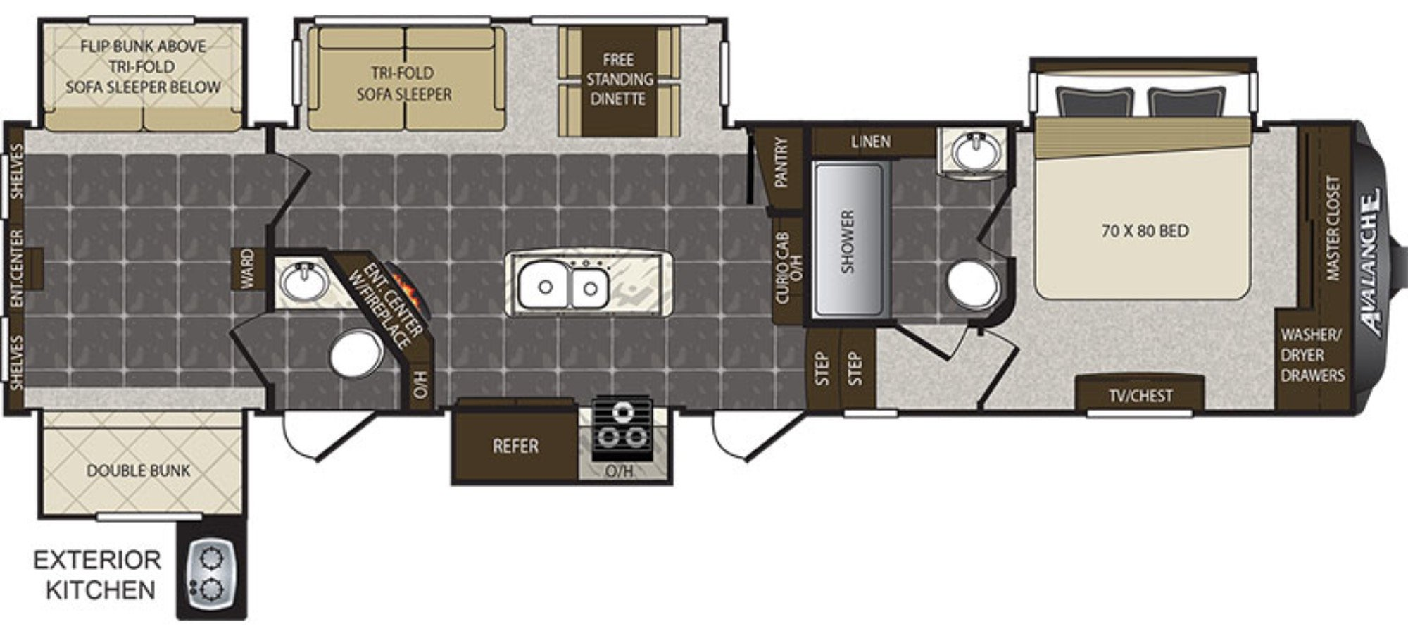 View Floor Plan for 2017 KEYSTONE AVALANCHE 391TG