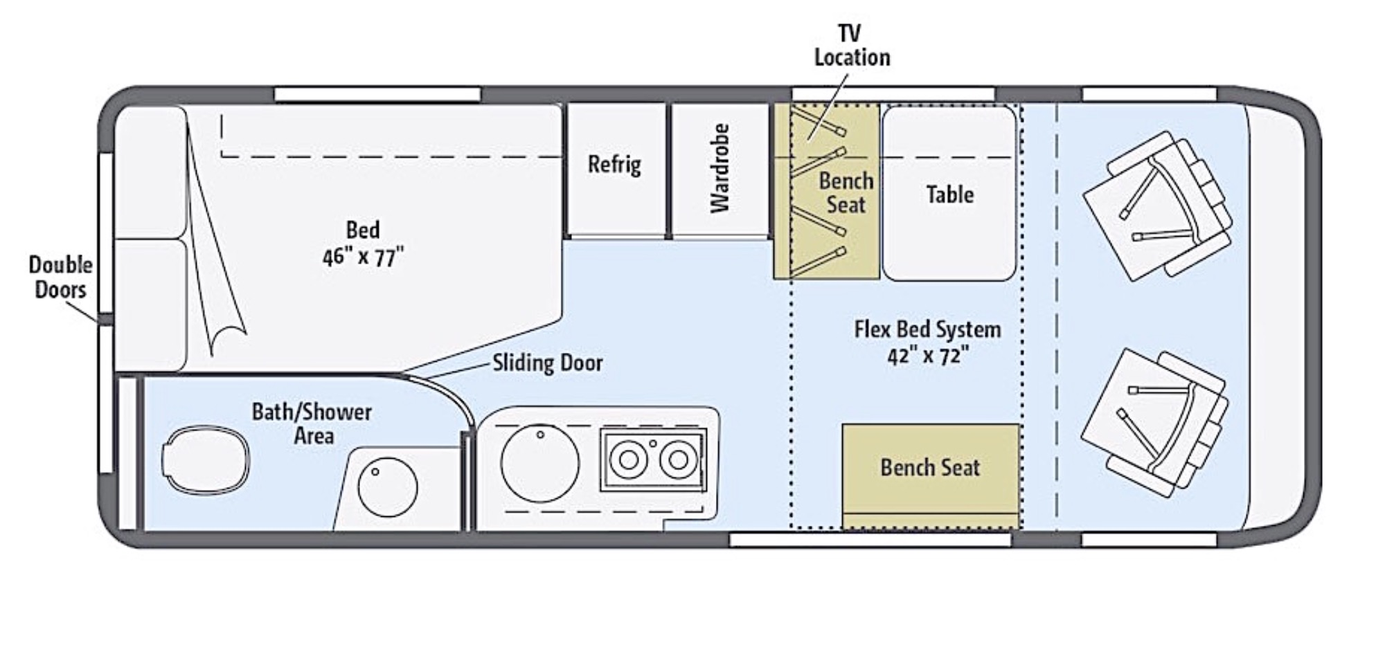 Class b rv floor plans images for Motorhome plans
