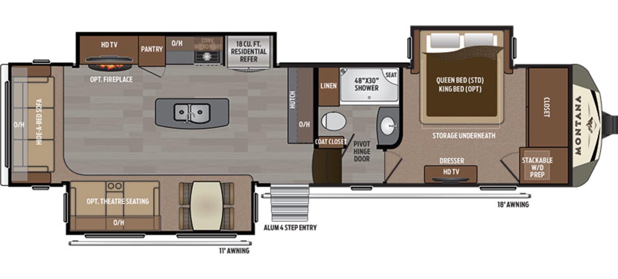 View Floor Plan for 2017 KEYSTONE MONTANA 3611RL