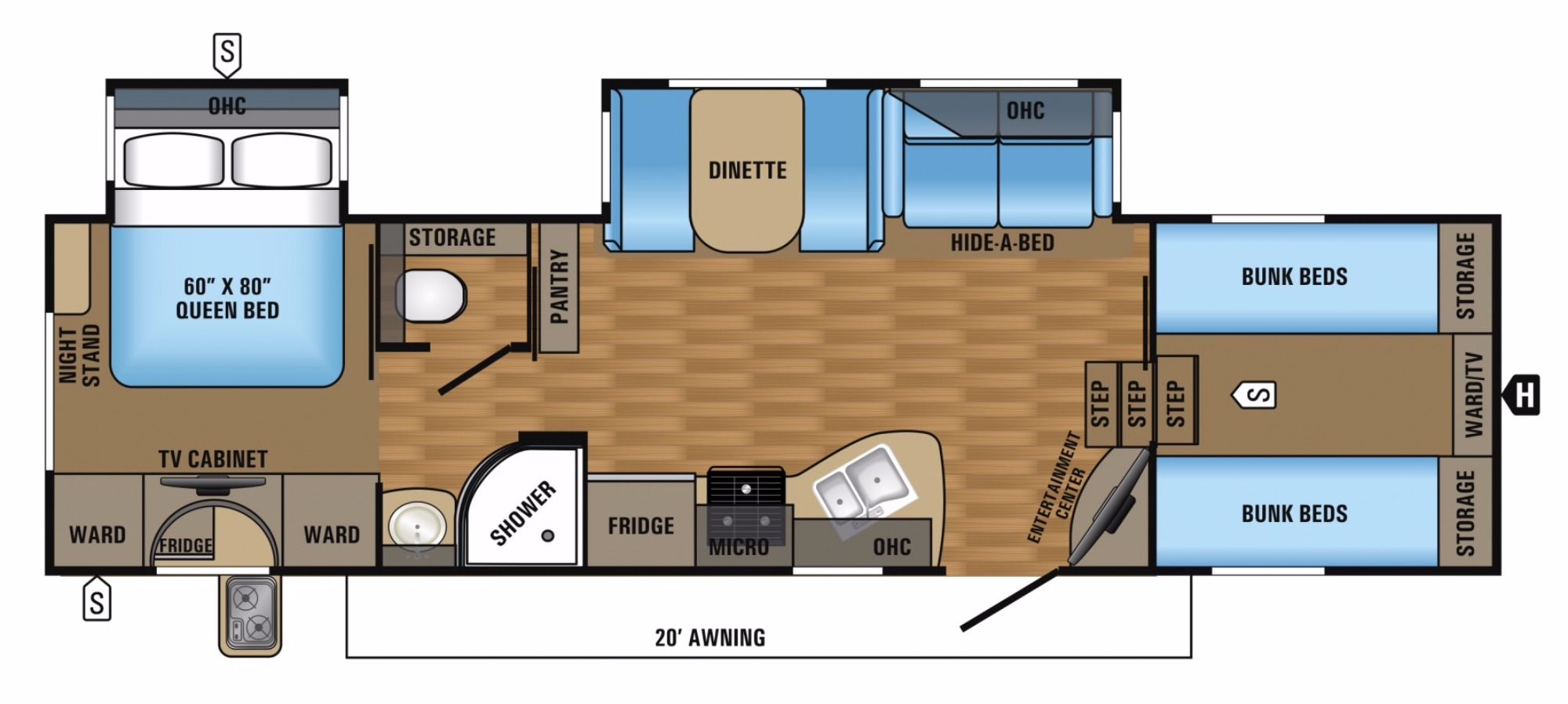 View Floor Plan for 2017 JAYCO EAGLE HT 29.5FBDS
