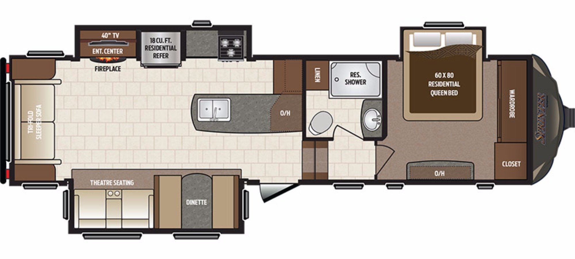 View Floor Plan for 2017 KEYSTONE SPRINTER 298FWRLS