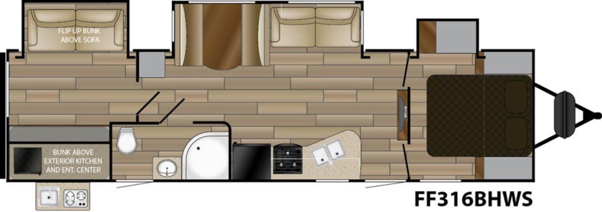 View Floor Plan for 2017 CRUISER RV FUN FINDER 316BHWS