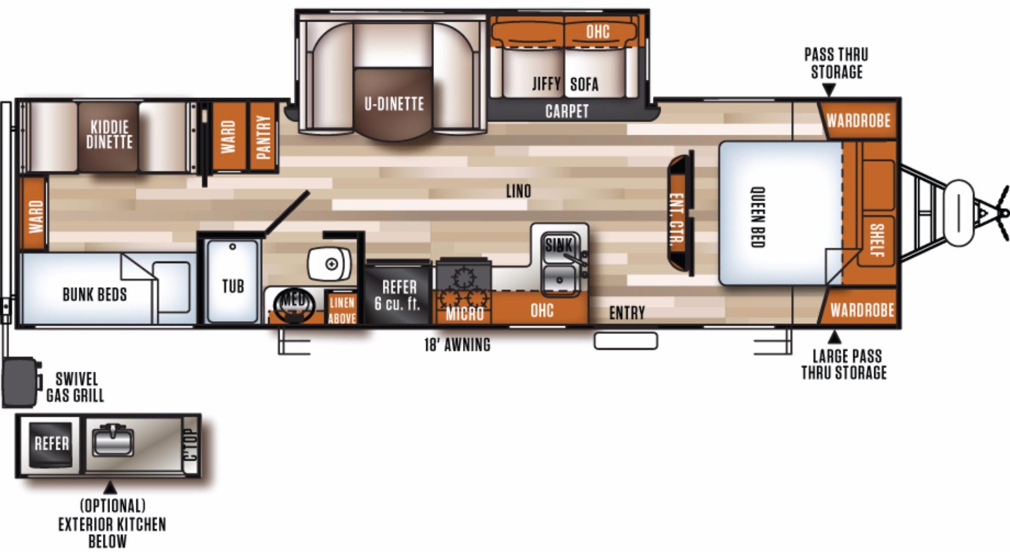 View Floor Plan for 2017 FOREST RIVER VIBE EXTREME LITE 315BHK