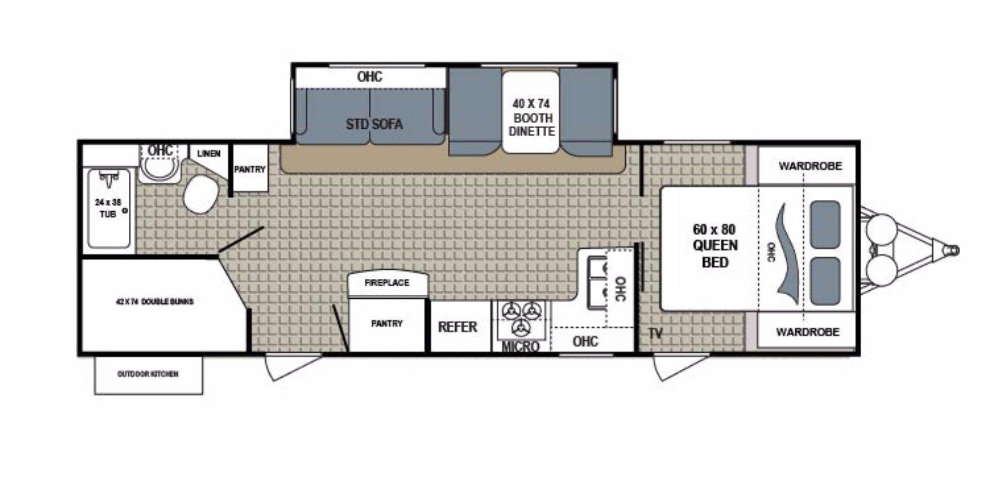 View Floor Plan for 2017 DUTCHMEN KODIAK 288BHSL