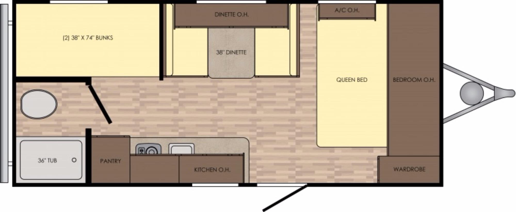View Floor Plan for 2017 CROSSROADS Z-1 18BH